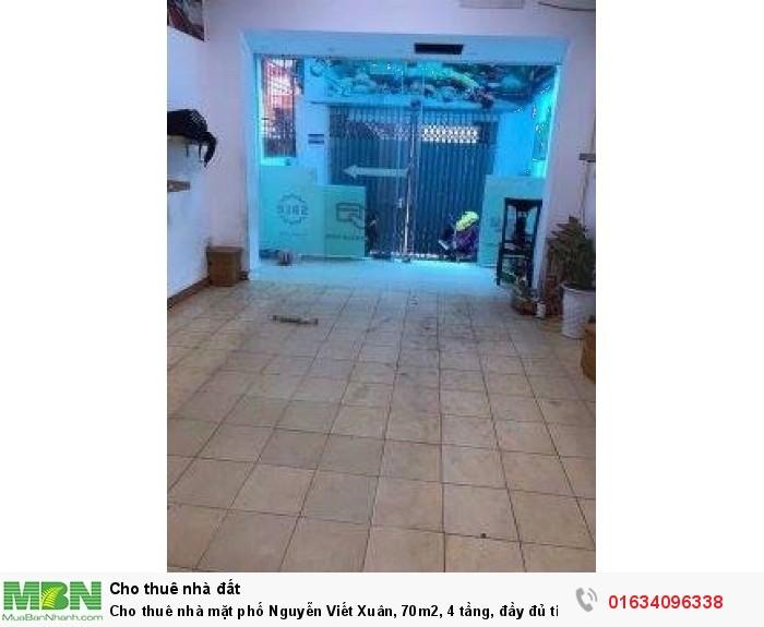 Cho thuê nhà mặt phố Nguyễn Viết Xuân, 70m2, 4 tầng, đầy đủ tiện nghi