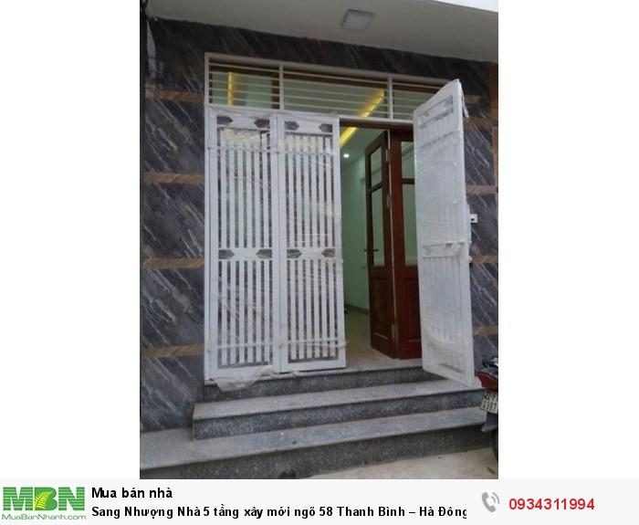 Sang Nhượng Nhà 5 tầng xây mới ngõ 58 Thanh Bình – Hà Đông.Oto đỗ cách nhà 50m