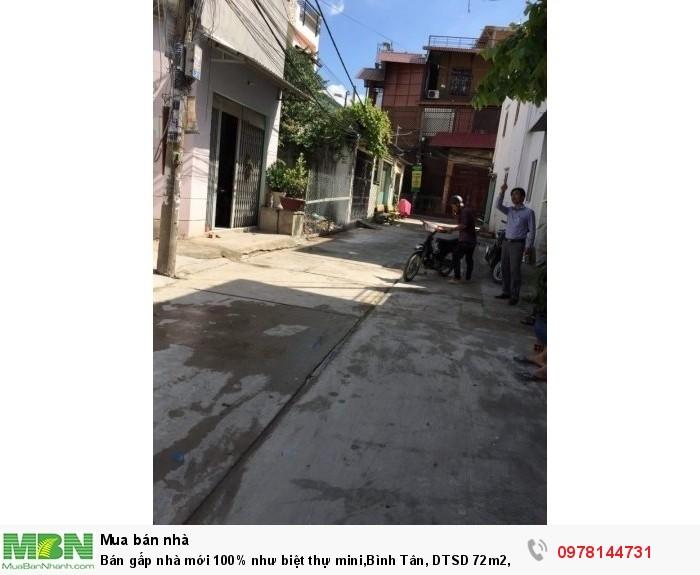 Bán gấp nhà mới 100% như biệt thự mini, Bình Tân, DTSD 72m2, 1 trệt 2 lầu