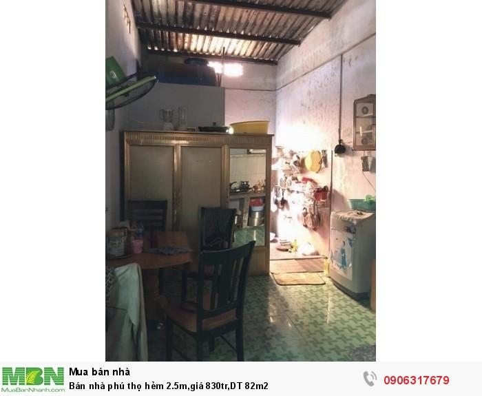 Bán Nhà Phú Thọ Hẻm 2.5M,giá 830Tr,dt 82M2