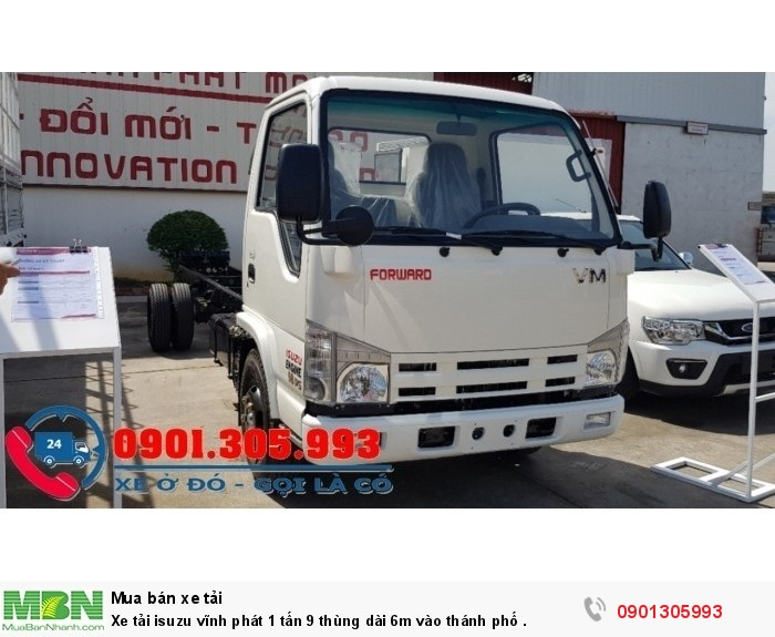 Xe tải Isuzu Vĩnh Phát 1 tấn 9 thùng dài 6m vào thánh phố .