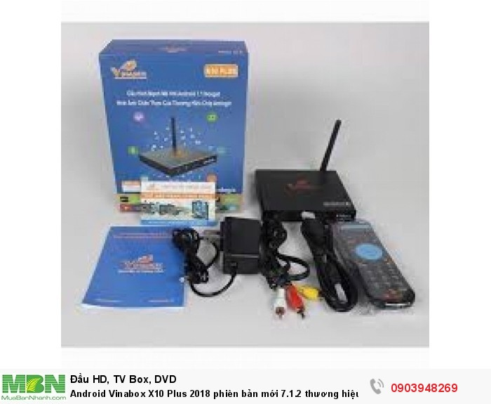 Trọn bộ gồm có: Đầu Vinabox X10 Plus 2018, adapter 5V/ 2A, dây HDMI, dây AV, Pin và Remote, hướng dẫn sử dụng.