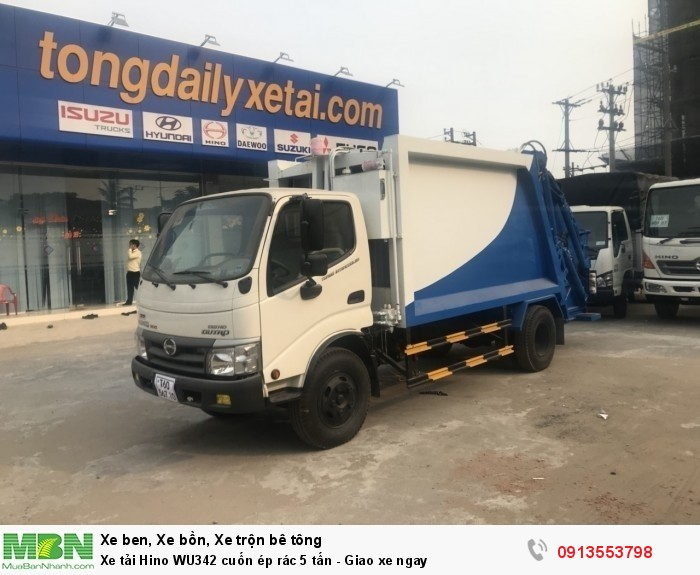 Khuyến mãi mua xe tải Hino WU342 cuốn ép rác 5 tấn - Gọi 0913553798 (24/24)