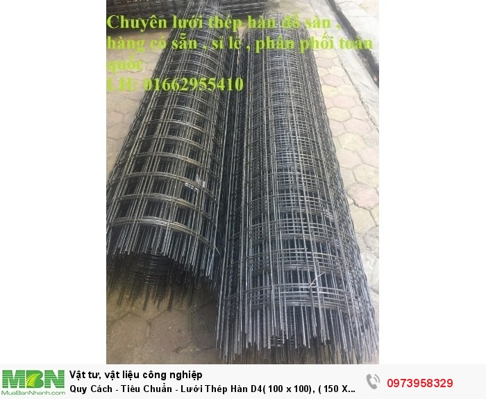 Lưới Thép Hàn  D4( 100 x 100), ( 150 X 150), ( 200 X 200), hàng có sẵn0