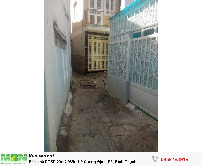 Bán nhà DTSD 20m2 985tr Lê Quang Định, P5, Bình Thạnh