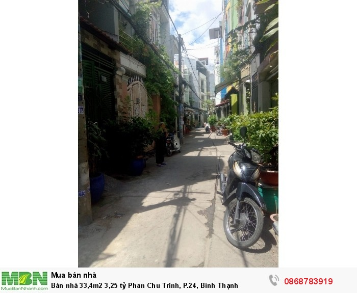 Bán nhà 33,4m2 3,25 tỷ Phan Chu Trinh, P.24, Bình Thạnh