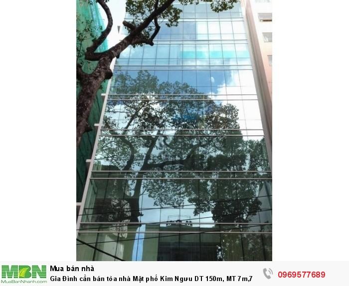 Gia Đình cần bán tòa nhà Mặt phố Kim Ngưu DT 150m, MT 7m,7 tầng, thang máy