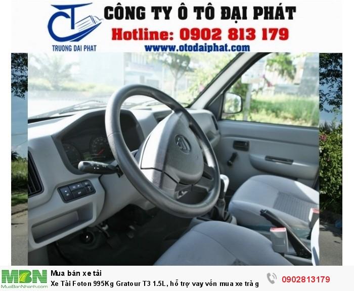 Xe Foton 995kg T3 1.5L cũng giống như các xe cùng phân khúc khác, xe có thiết kế nội thất vô cùng sang trọng, thoáng mát dành cho 2 người ngồi và được trang bị đầy đủ các tiện nghi cần thiết nhằm đem lại cảm giác dễ chịu, thoải mái khi ngồi trên xe lưu thông. Hệ thống giải trí ( FM, Radio, Mp3..), hệ thống điều hòa được bố trí có sẵn trên xe mát lạnh, hộp đựng đồ tiện dụng.