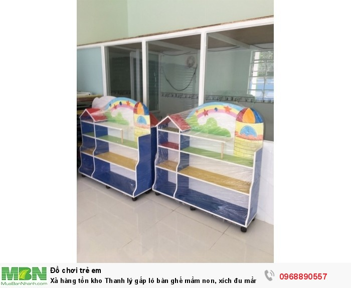 Xả hàng tồn kho Thanh lý gấp lô bàn ghế mầm non, xích đu mầm non, tủ đồ chơi mầm non có bảo hành0