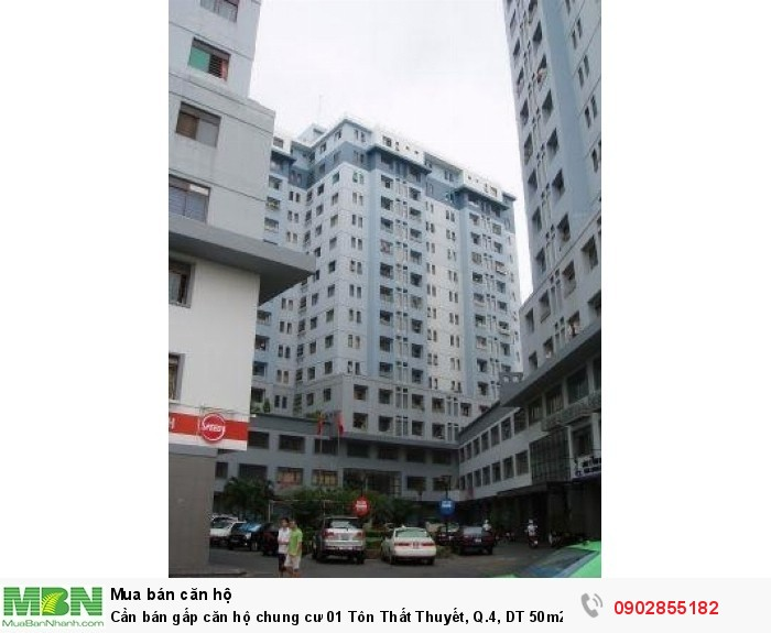 Cần bán gấp căn hộ chung cư 01 Tôn Thất Thuyết, Q.4, DT 50m2, 1PN, 1WC,tặng full nội thất 1.95 tỷ
