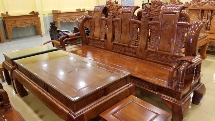 Bộ Bàn Ghế Tần thủy hoàng gỗ tự nhiên cao cấp cột 12
