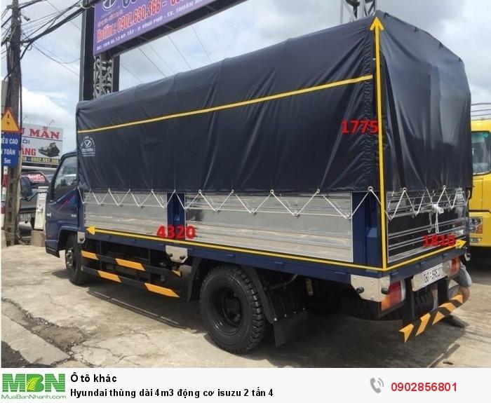 Hyundai thùng dài 4m3 động cơ isuzu 2 tấn 4 1