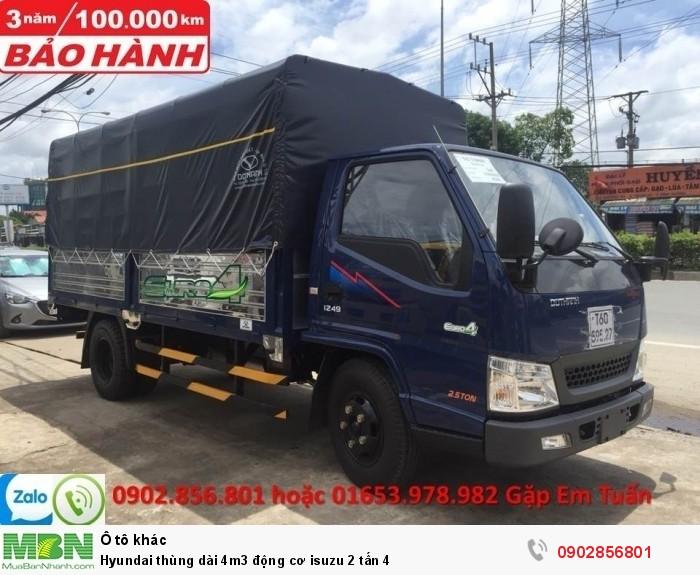 Hyundai thùng dài 4m3 động cơ isuzu 2 tấn 4 0