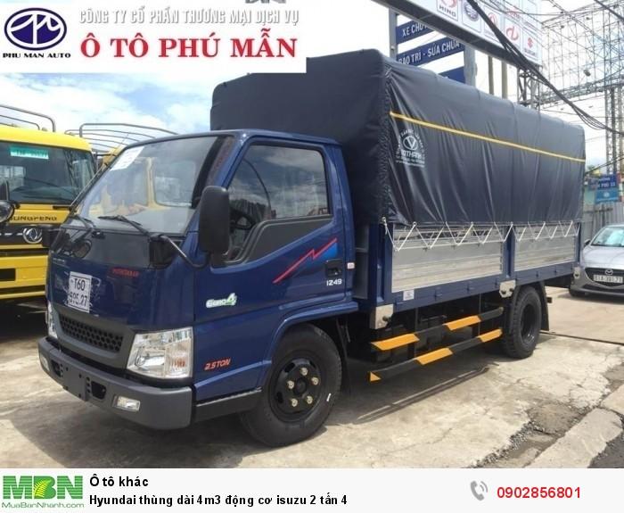 Hyundai thùng dài 4m3 động cơ isuzu 2 tấn 4 3
