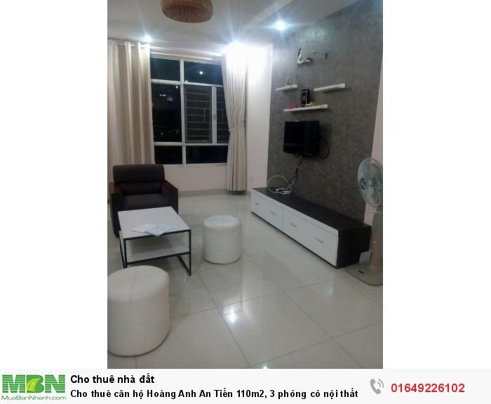 Cho thuê căn hộ Hoàng Anh An Tiến 110m2, 3 phòng có nội thất, lầu cao thoáng mát giá 11tr