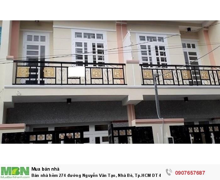 Bán nhà hẻm 274 đường Nguyễn Văn Tạo, Nhà Bè, Tp.HCM DT 4m x 10m 1 lầu 1 trệt