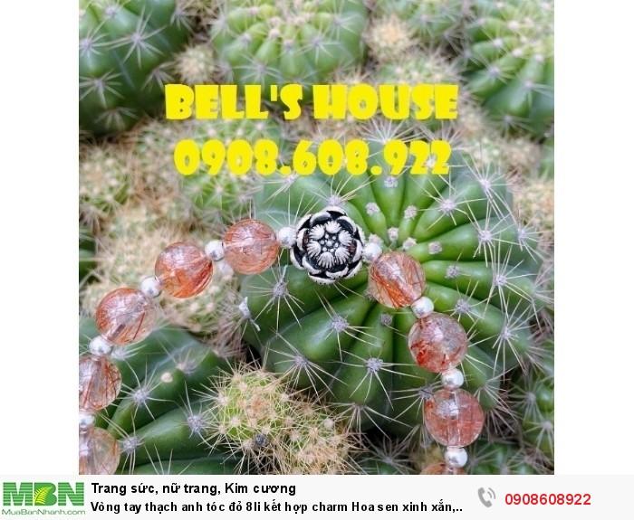 Vòng tay thạch anh tóc đỏ 8li kết hợp charm Hoa sen xinh xắn, vòng tay đá phong thủy Bells House TPHCM1
