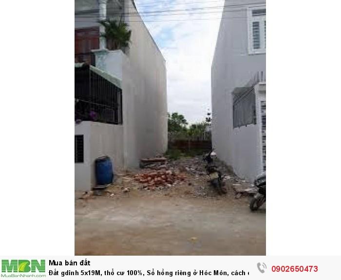 Đất gdinh 5x19M, thổ cư 100%, Sổ hồng riêng ở Hóc Môn, cách chợ Hóc Môn 1Km