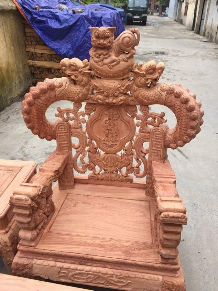 Bộ bàn ghế giả cổ nghê khuỳnh gỗ hương đá5