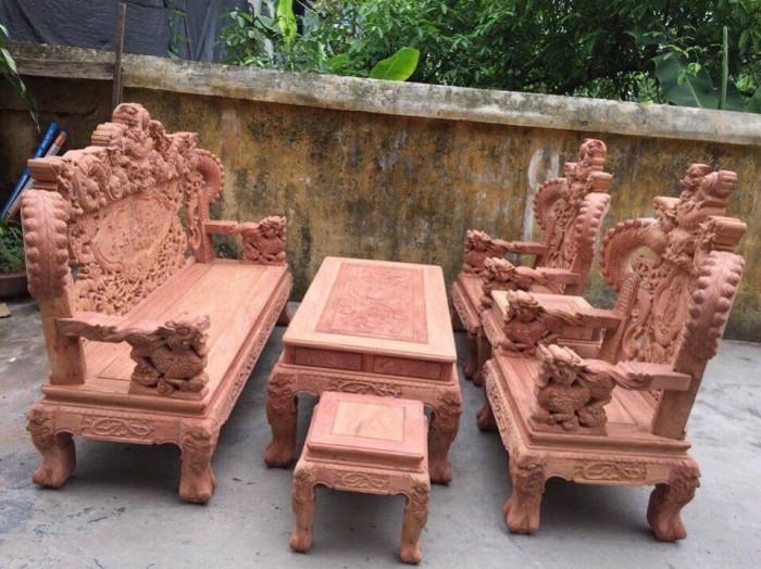 Bộ bàn ghế giả cổ nghê khuỳnh gỗ hương đá6