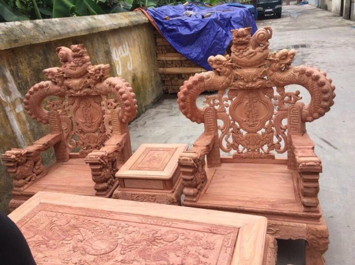 Bộ bàn ghế giả cổ nghê khuỳnh gỗ hương đá7
