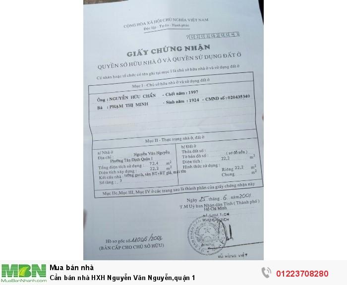 Bán nhà HXH Nguyễn Văn Nguyễn, quận 1 - (DT: 6,93m * 3,36m)