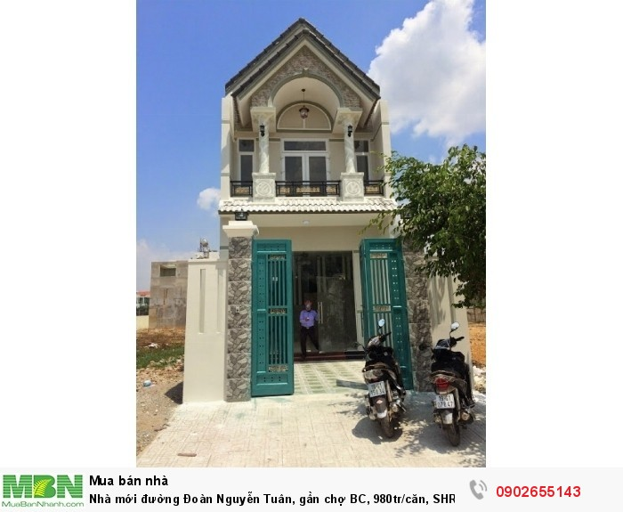 Nhà mới đường Đoàn Nguyễn Tuân, gần chợ BC, 980tr/căn, SHR