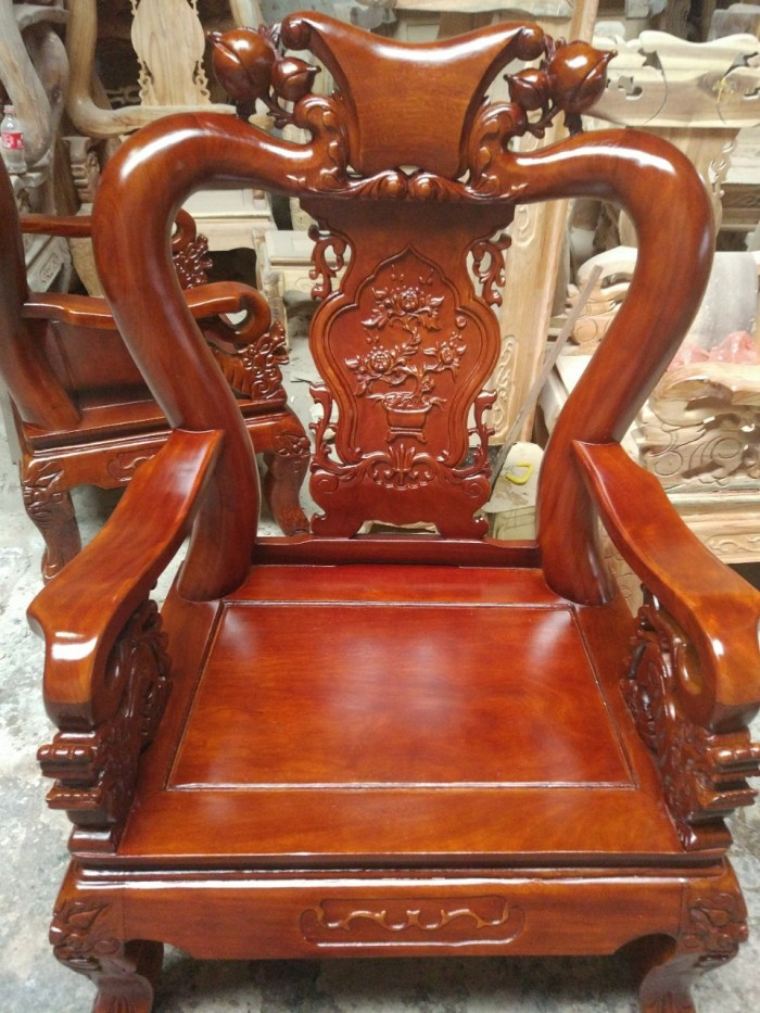 Bộ bàn ghế giả cổ trạm tứ linh gỗ lim10