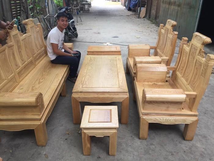 Bộ bàn ghế âu á hộp - gỗ sồi nga - Loại 2m2 và 2m46