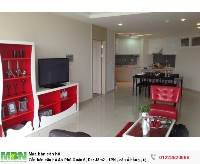 Cần bán căn hộ An Phú Quận 6, Dt : 48m2 , 1PN , có sổ hồng , tặng nội thất