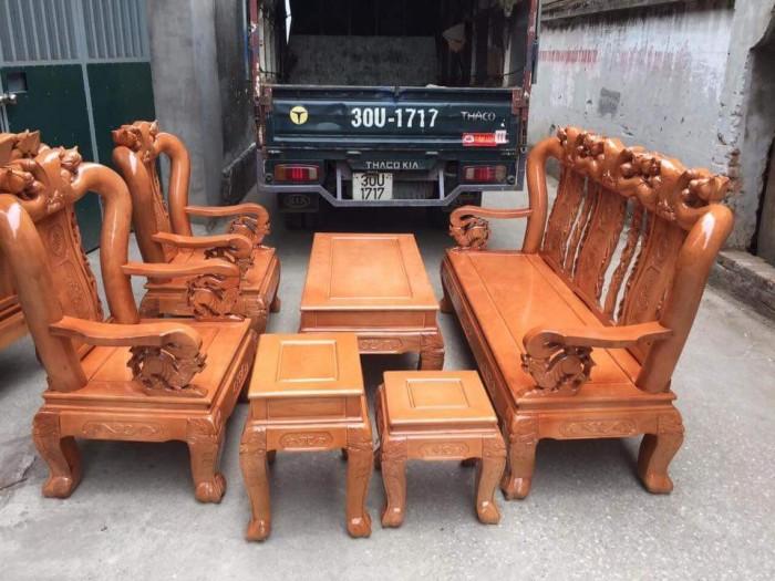 Bộ bàn ghế giả cổ trạm đào gỗ sồi nga8
