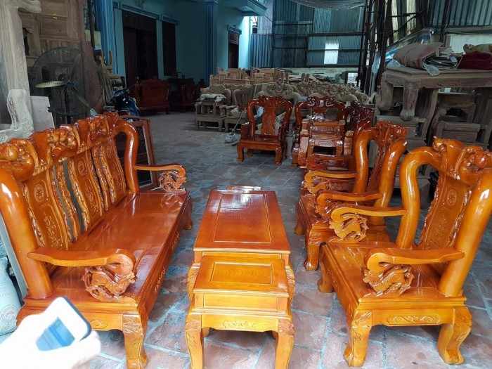Bộ bàn ghế giả cổ trạm đào gỗ sồi nga9