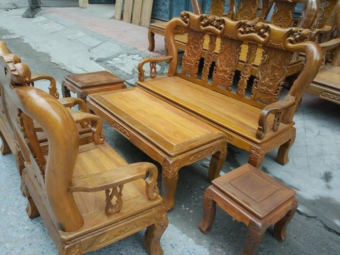 Bộ bàn ghế đục đào gỗ nghiến3