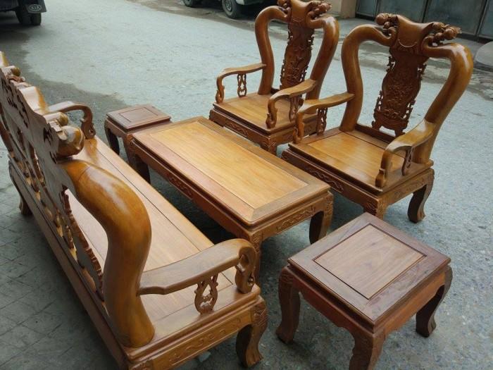 Bộ bàn ghế đục đào gỗ nghiến4