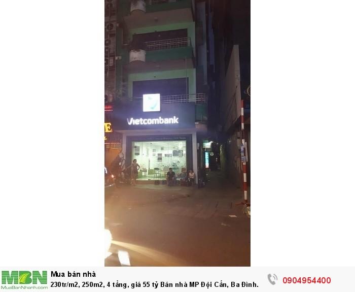 230tr/m2, 250m2, 4 tầng, giá 55 tỷ Bán nhà MP Đội Cấn, Ba Đình. Mặt tiền rộng, cực đẹp.