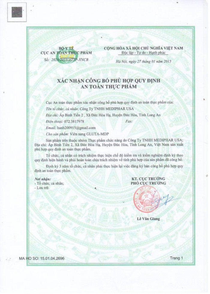 Giấy phép an toàn thực phẩm Gluta MDP1