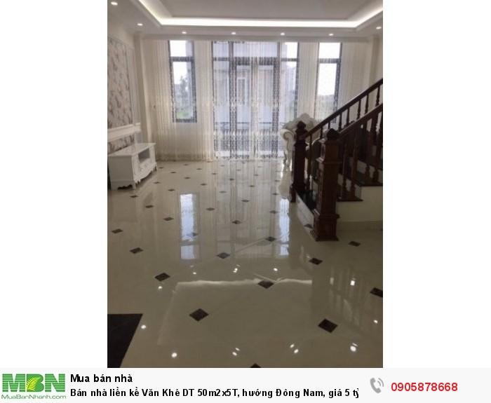 Bán nhà liền kề Văn Khê DT 50m2x5T, hướng Đông Nam, giá 5 tỷ, Hà Đông