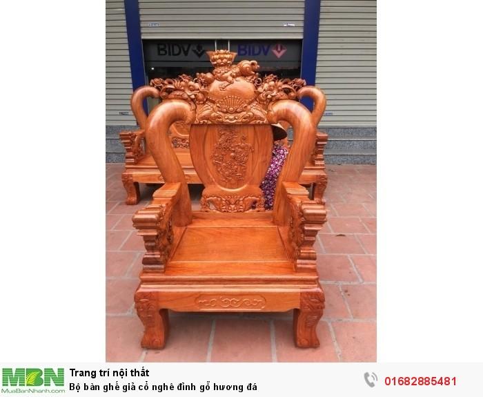 Bộ bàn ghế giả cổ nghê đỉnh gỗ hương đá1