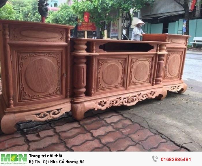 Kệ Tivi Cột Nho Gỗ Hương Đá10