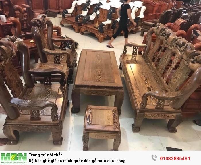 Bộ bàn ghế giả cổ minh quốc đào gỗ mun đuôi công1