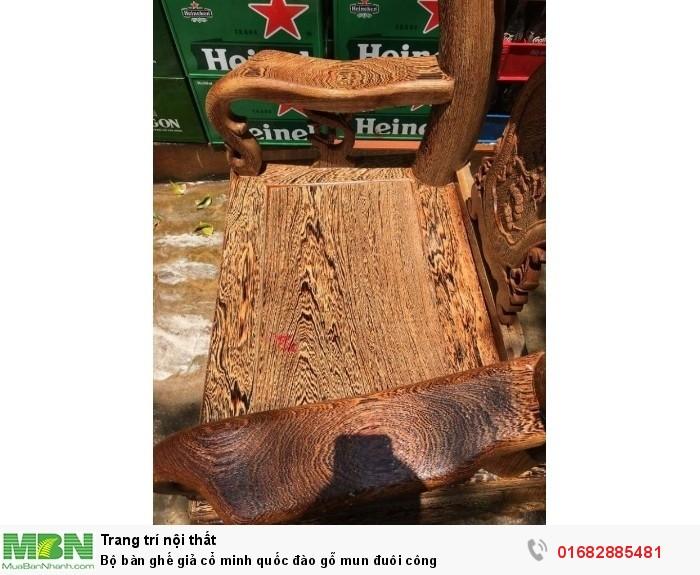 Bộ bàn ghế giả cổ minh quốc đào gỗ mun đuôi công2