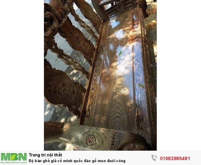Bộ bàn ghế giả cổ minh quốc đào gỗ mun đuôi công5