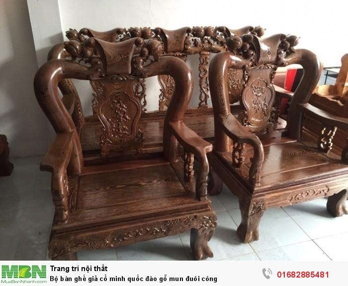Bộ bàn ghế giả cổ minh quốc đào gỗ mun đuôi công6