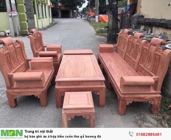 Bộ bàn ghế Âu Á hộp kiểu cuốn thư gỗ hương đá12
