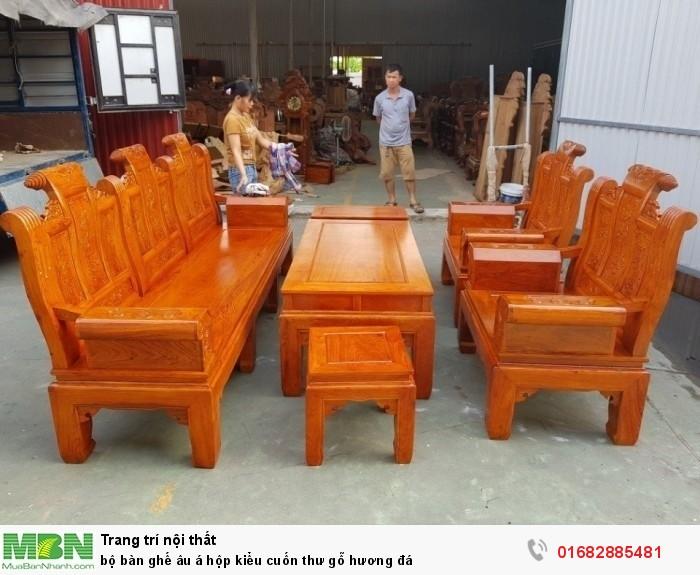 Bộ bàn ghế Âu Á hộp kiểu cuốn thư gỗ hương đá13
