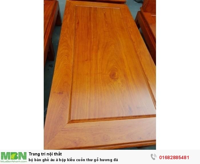 Bộ bàn ghế Âu Á hộp kiểu cuốn thư gỗ hương đá14