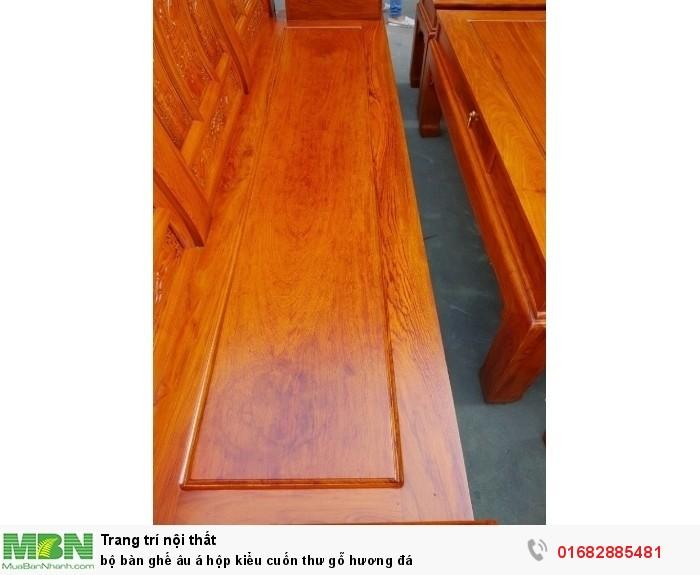 Bộ bàn ghế Âu Á hộp kiểu cuốn thư gỗ hương đá16