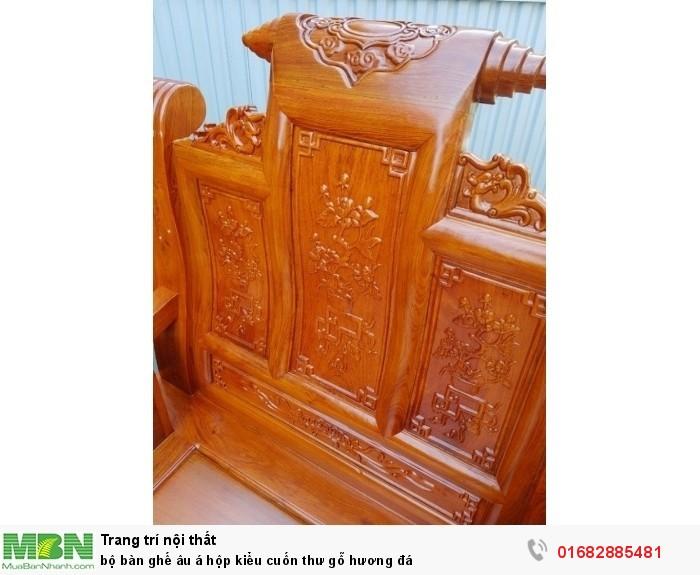 Bộ bàn ghế Âu Á hộp kiểu cuốn thư gỗ hương đá19