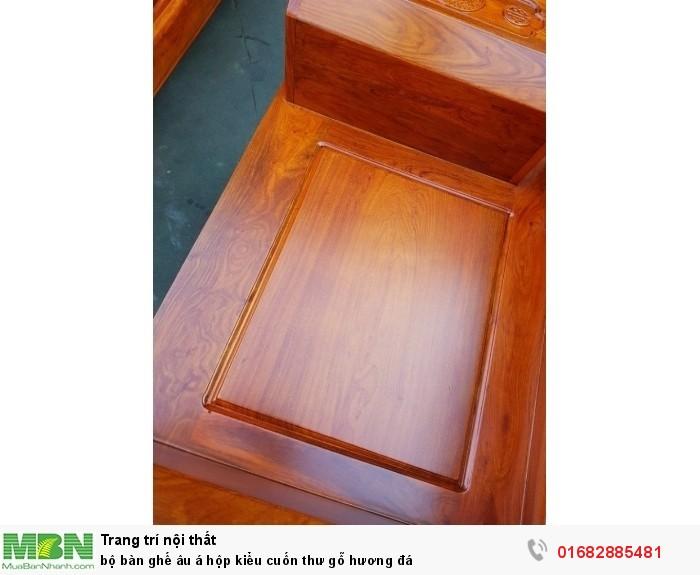 Bộ bàn ghế Âu Á hộp kiểu cuốn thư gỗ hương đá20