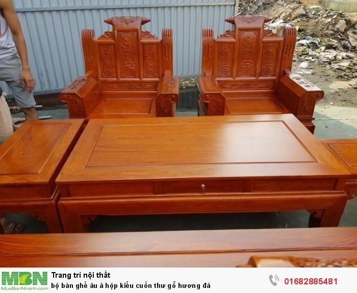 Bộ bàn ghế Âu Á hộp kiểu cuốn thư gỗ hương đá21